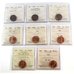 Estate Lot of 1943-1967 Canada 1-cent & 1912-1941 5-cent ICCS Certified Coins. 1-cent - 1943 MS-62 T