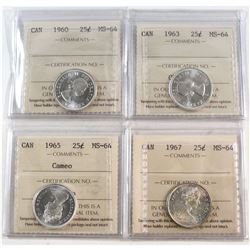 Estate Lot of 25-cents ICCS Certified MS-64 & MS-65: 1960 MS-64, 1963 MS-64, 1965 Cameo MS-64, 1967