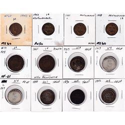 P.E.I. & Newfoundland 1-cent - 1871 P.E.I. & 1938, 1941C & 1943C Newfoundland, 1861 New Brunswick 1-