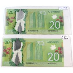 Estate Lot of 2x Canada $20.00 Banknotes with Low Serial Numbers - BIR0000648 & FVF0006013. 2pcs