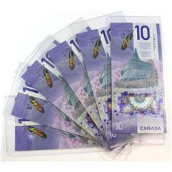 Estate Lot of 6x Canada $10.00 Banknotes with Viola Desmond Portrait. 6pcs