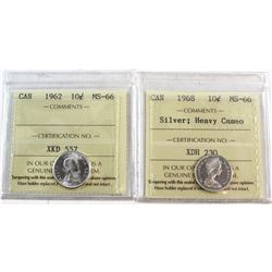 1962 & 1968 Silver Heavy Cameo Canada 10-cent ICCS Certified MS-66. 2pcs