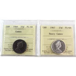 1966 Cameo & 1967 Heavy Cameo Canada 25-cent ICCS Certified PL-66. 2pcs