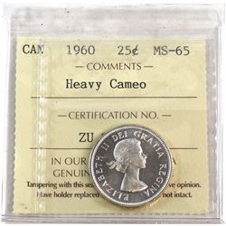 1960 Canada 25-cent ICCS Certified MS-65 Heavy Cameo