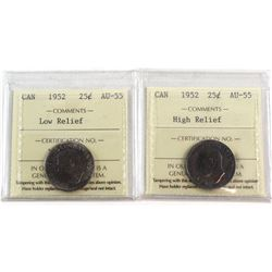 1952 Canada 25-cent High Relief & Low Relief ICCS Certified AU-55. 2pcs