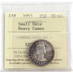 1953 Canada 25-cent Small Date ICCS Certified MS-65 Heavy Cameo