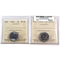 1944 & 1945 Canada 5-cent ICCS Certified MS-66. 2pcs