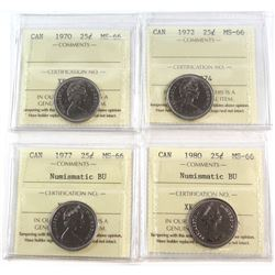 1970-1980 Canada 25-cent ICCS Certified MS-66 - 1970, 1972, 1977 NBU & 1980 NBU. 4pcs