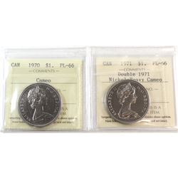 1970 Canada Nickel $1 ICCS Certified PL-66 Cameo & 1971 Nickel $1 Double 1971 ICCS PL-66 Heavy Cameo