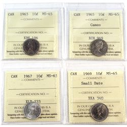 1963-1969 Canada 10-cent ICCS Certified MS-65 - 1963, 1965 Cameo, 1967 & 1969 Small Date. 4pcs