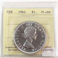 1964 Canada Silver $1 ICCS Certified PL-66. Features a Cameo not listed on holder.