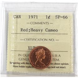 1971 Canada 1-cent ICCS Certified SP-66 Red Heavy Cameo