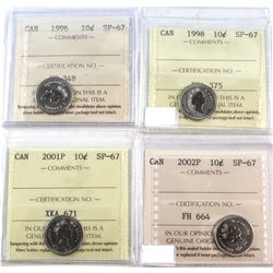 1996-2002P Canada 10-cent ICCS Certified SP-67 - 1996, 1998, 2001P & 2002P. 4pcs