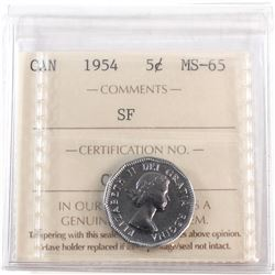 1954 Canada 5-cent SF ICCS Certified MS-65