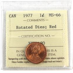1977 Canada 1-cent Rotated Dies ICCS Certified MS-66 Red