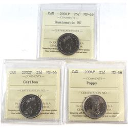 2001-2004 Canada 25-cent ICCS Certified MS-66 - 2001P NBU, 2002P & 2004P Poppy. 3pcs