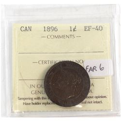 1896 Canada 1-cent Far 6 ICCS Certified EF-40