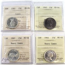 1962-1964 Canada 25-cent ICCS Certified MS-64 - 1962, 1962 Cameo, 1963 Heavy Cameo & 1964 Heavy Came