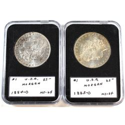 1884-O & 1885-O USA Silver Morgan Dollars BU in Hard Plastic Holders. 2pcs