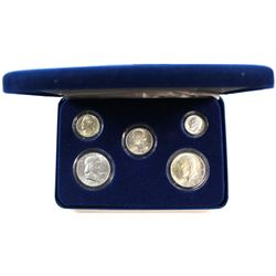 USA BU Obsolete Silver Coinage Set Encapsulated in Blue Display Box including Nickel, Dime, Quarter,