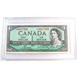 1954 $1.00 BC-37cA Bouey-Rasminsky, *C/F Prefix, UNC