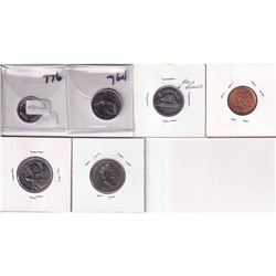 Estate Lot of Various Canadian Error Coins - 1-cent, 2x 5-cent, 10-cent & 2x 25-cent. Holders are wr
