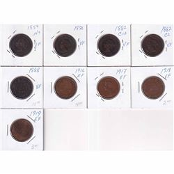 Estate Lot of 9x 1859-1919 Canada Large Cents - 1859 N9, 1876, 1882H Obv 1a, 1882H Obv 2, 1888, 1916