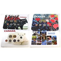 4x 2010 Canada 7-coin Collector Boards: Maple Leaves, Vancouver Landscape, RCMP & Polar Bear. 4 sets