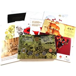 10x Royal Canadian Mint Collector Card with coins: 2004 400th Anniversary 6-coin set, 2005 Victory 6