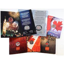 2000-2004 Canada Day Coloured 25-cent coins: 2000 Pride, 2000 Celebration, 2001 Spirit, 2002, 2003 &