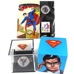 2013 Modern Day Superman $20 Fine Silver coin & 2013 Canada 50-cent Superman: Then and Now Lenticula