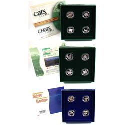 RCM Lot: 1997-1999 Canada 4-Coin Animal Sterling Silver Proof 50-cent Sets. You will receive 1997 Ca