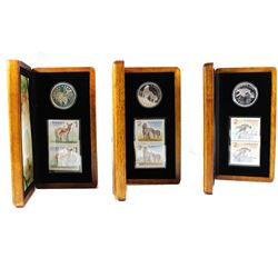 RCM Lot: 2005 & 2006 Canada Fine Silver Coin and Stamp Sets: 2005 $5 Deer and Fawn, 2006 $5 Sable Ho