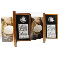2x 2004 Canada The Great Grizzly Bear $8 Coin and Stamp Set (capsules and outer sleeve contain light