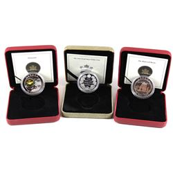 3x Canada $20 Fine Silver coins: 1911-2001 Proof Silver Dollar, 2005 Canada $20 Natural Wonders - No