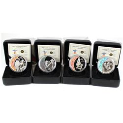 4x 2009 Canada $25 Olympic Sterling Silver coins: 2009 Skeleton, 2009 Cross Country, 2009 Speed Skat