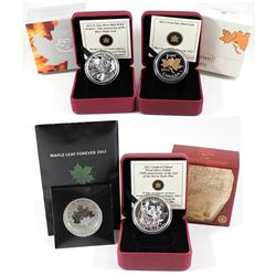 4x RCM Fine Silver coins (Tax Exempt): 2012 $10 Maple Leaf Forever, 2013 $1 250th Anniversary of the