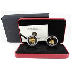 2005 $8 Fine Silver Two-Coin Set - Commemoration of Chinese Railway Workers (Tax Exempt). The outer