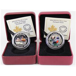 2014 Harlequin & 2015 Cinnamon Teal Ducks of Canada $10 Fine Silver coins (Tax Exempt). Coins come e