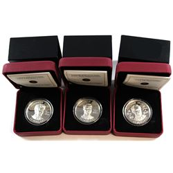 3x 2011 Canada $15 Prince of Wales High Relief Sterling Silver coins: H.R.H Prince Charles, Prince H