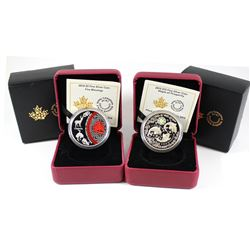 2014 Canada $5 Five Blessings & 2015 $15 Maple of Prosperity Fine Silver coins (Tax Exempt). Outer b