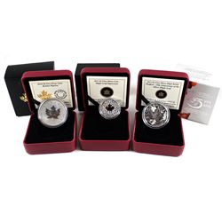 2013 Canada $3 Maple Leaf Impression, 2013 $5 Piedfort 25th Anniversary Maple & 2015 Canada $5 Bulli