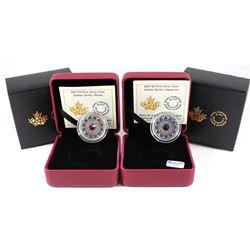 2x 2017 Canada $5 Zodiac Series - Aquarius & Pisces Fine Silver Coins (Tax Exempt). 2pcs