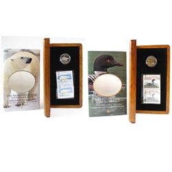 2004 Canada Elusive Loon Dollar Coin and Stamp Set & 2004 Canada Proud Polar Bear $2 Coin and Stamp