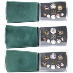 2000, 2002 & 2004 Canada Proof Double Dollar Set in original green leatherette Display only (coins a