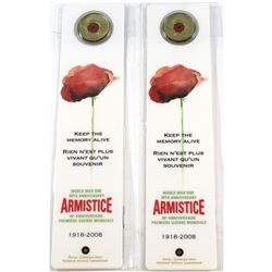 2x 2008 Canada 25-cent Poppy Bookmark - WWI Armistice (toned). 2pcs
