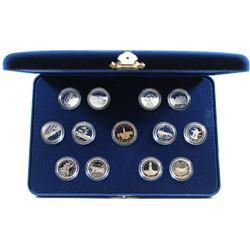 1992 Canada 125th Anniversary 13-coin Sterling Silver Proof 25-Cent Set with Loon Dollar.