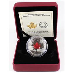 2017 Canada $20 Majestic Maple Leaves with Drusy Stone Fine Silver Coin (Tax Exempt). Coin comes enc