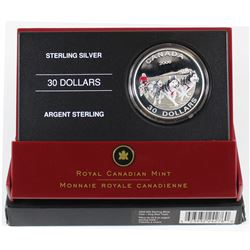 2006 Canada $30 Dog Sled Team Sterling Silver Coin (outer sleeve lightly worn and coin is toned)