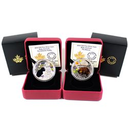 2014 Atlantic Puffin & 2014 Beaver Canada Baby Animal series $20 Fine Silver coins (Tax Exempt). 2pc